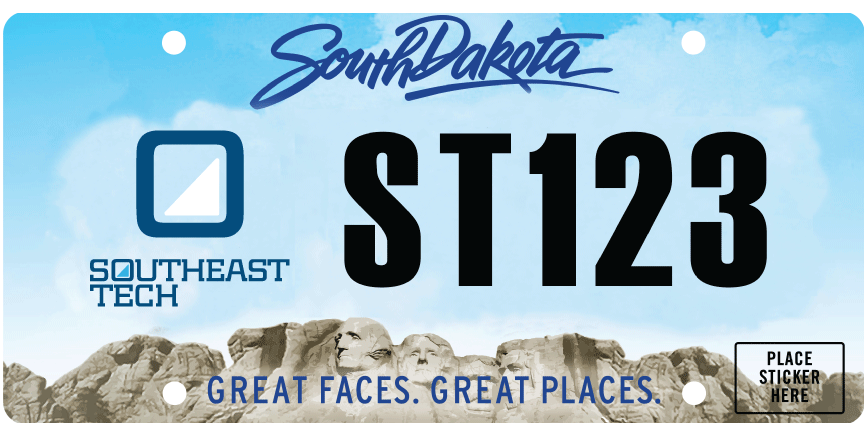 South Dakota organizational license plate with Southeast Tech decal